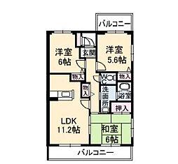 広島県福山市瀬戸町大字地頭分の賃貸マンションの間取り