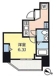 ランヴィ文京千駄木 5階1Kの間取り