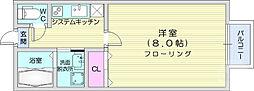 スカイハーツ新田 3階1Kの間取り