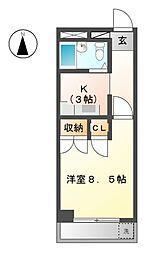 フォーブル三里[3階]の間取り
