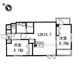 阪急京都本線 西京極駅 徒歩12分の賃貸マンション 3階2LDKの間取り