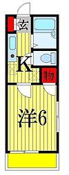 千葉県習志野市本大久保3丁目の賃貸アパートの間取り