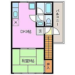 三重県四日市市富田4丁目の賃貸アパートの間取り