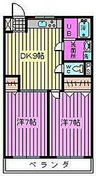 第二横田ハイツ[202号室]の間取り