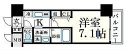 阪神本線 春日野道駅 徒歩4分の賃貸マンション 2階1Kの間取り