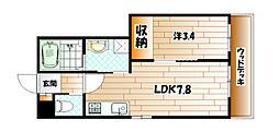 ロデスマン三萩野[1階]の間取り