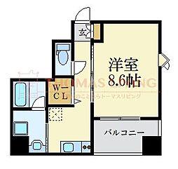 D-room gracious平尾 3階1Kの間取り