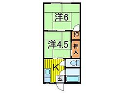 日雄コーポ[2階]の間取り