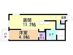 仮)サリーレ新札幌B 3階1LDKの間取り