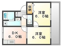 岡山県岡山市北区辰巳の賃貸アパートの間取り