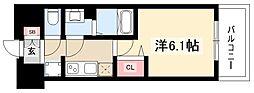プレサンスTHEMOTOYAMA 2階1Kの間取り