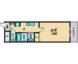明成中津ビル 2階1Kの間取り