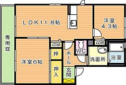 三洋タウン本城 F棟[1階]の間取り