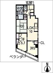 パラシオン覚王山507号室[5階]の間取り