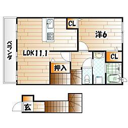 ソレイユ元町Ⅲ[2階]の間取り