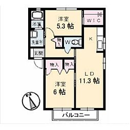 シャーメゾンボン・コリーヌB棟[2階]の間取り
