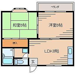 広島県広島市東区中山東2丁目の賃貸アパートの間取り