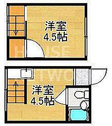 京都府京都市北区紫竹西北町の賃貸アパートの間取り