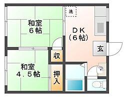ロイヤルガーデンハイツA棟[2階]の間取り