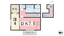 兵庫県姫路市神和町の賃貸アパートの間取り
