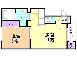 ハイネス前田213 2階1LDKの間取り
