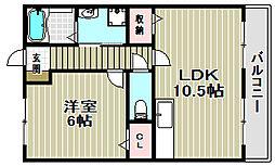 大阪府堺市東区石原町4丁の賃貸マンションの間取り