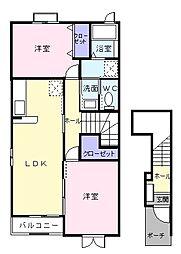 埼玉県越谷市大字増林の賃貸アパートの間取り