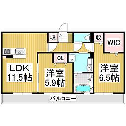 (仮)野溝西1丁目D-room B棟[2階]の間取り
