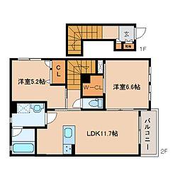 近鉄橿原線 平端駅 徒歩6分の賃貸アパート 2階2LDKの間取り