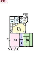 埼玉県東松山市新宿町の賃貸アパートの間取り