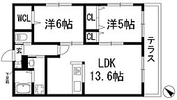 兵庫県川西市加茂3丁目の賃貸マンションの間取り