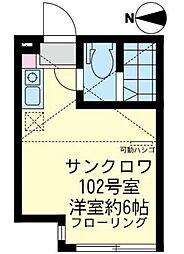 神奈川県横浜市鶴見区仲通2丁目の賃貸アパートの間取り