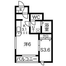 JR仙石線 福田町駅 徒歩4分の賃貸アパート 1階1LDKの間取り