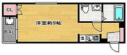 パルム西新III[2階]の間取り