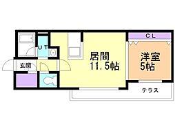AYA residence 1階1LDKの間取り