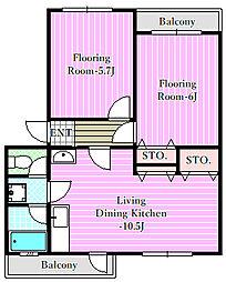 コーポ近江屋2[1階]の間取り