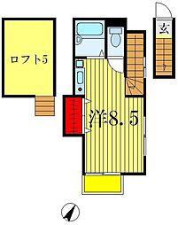 ワンズコア上本郷[2階]の間取り