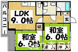 福岡県春日市小倉7丁目の賃貸マンションの間取り