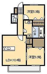 宮崎県宮崎市恒久3丁目の賃貸アパートの間取り
