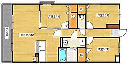 サニーコート梅満[4階]の間取り