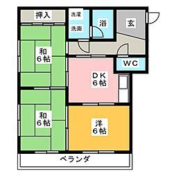 パークサイドグリーン[3階]の間取り