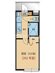 JR宇野線 大元駅 徒歩8分の賃貸アパート 2階1Kの間取り
