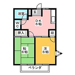 ドミールカニエ[2階]の間取り