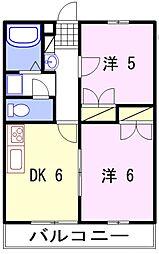 リアン飾東 A[2階]の間取り