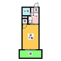 パークサイドムサシ[1階]の間取り