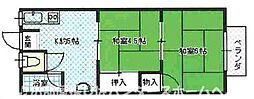 大阪府枚方市渚西1丁目の賃貸アパートの間取り