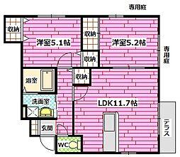 [テラスハウス] 広島県広島市安佐南区山本5丁目 の賃貸【/】の間取り