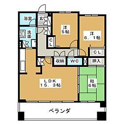 白壁シティハウス[9階]の間取り
