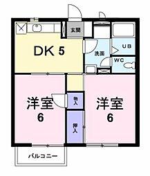 和歌山県御坊市藤田町藤井の賃貸アパートの間取り