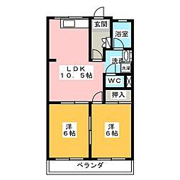 ミナミブルータウン光与[4階]の間取り